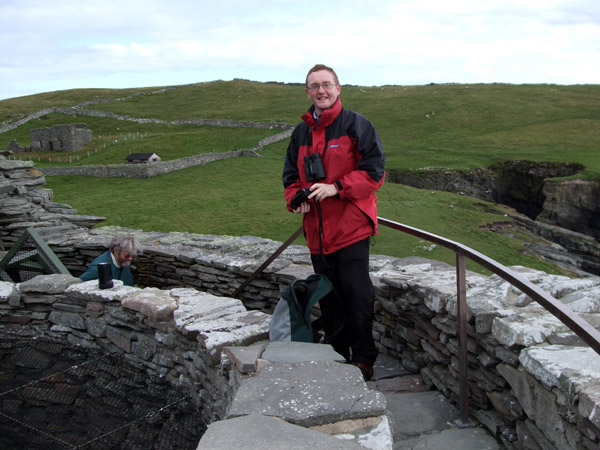 James atop Mousa Broch